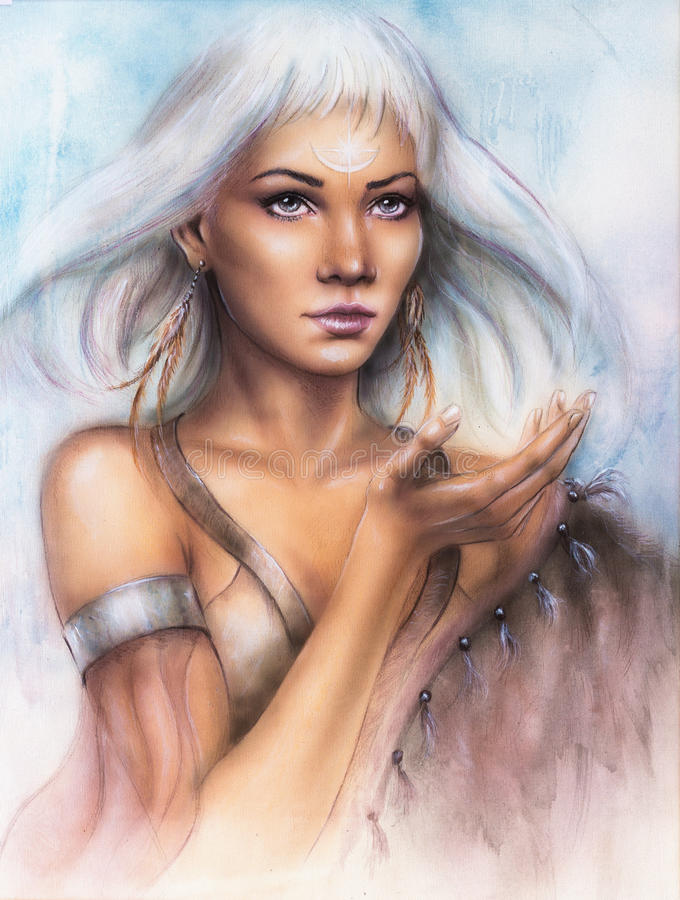 Beautiful airbrush portrait of a young enchanting woman warrior. A beautiful airbrush portrait of a young enchanting woman warrior with feathers white shiny hair vector illustration