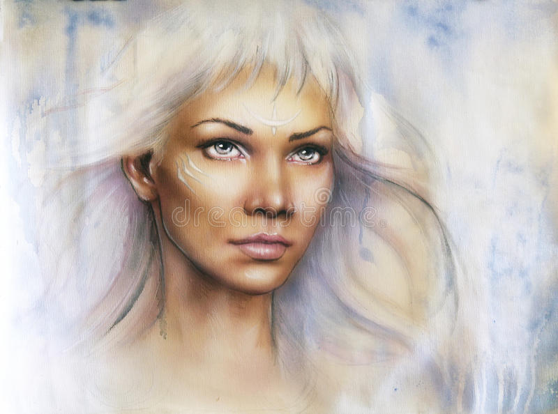 Beautiful airbrush portrait of a young enchanting woman warrior. A beautiful airbrush portrait of a young enchanting woman warrior with white shiny hair and a royalty free illustration
