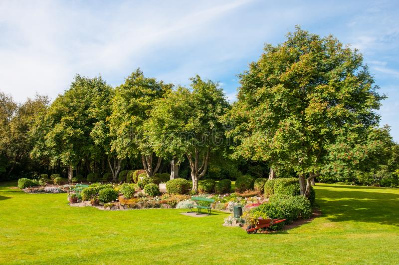Beautiful Akureyri Botanic Garden. On a summer day royalty free stock image
