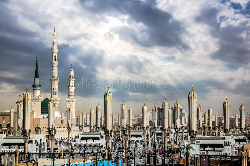 Al-Masjid an-Nabawi in Medina also called Prophet Muhammad Mosque Roza-e-Rasool PBUH, Saudi Arabia. Beautiful Al-Masjid an-Nabawi in Medina also called Prophet stock image