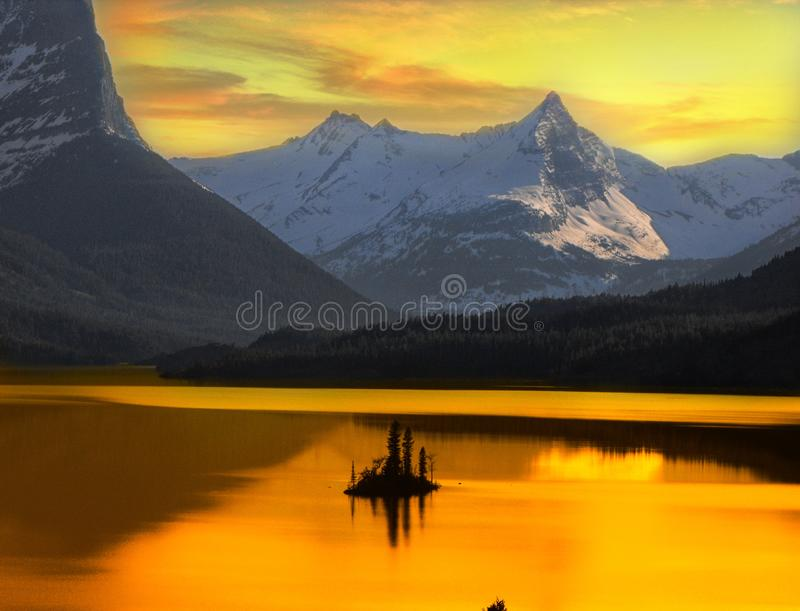Beautiful Alaskan Sunset Framed By Mountains stock photos