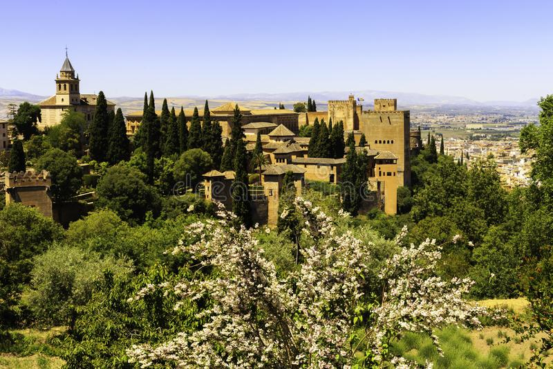 Beautiful Alhambra palace and surrounding mountains in Granada, Spain.  stock photography