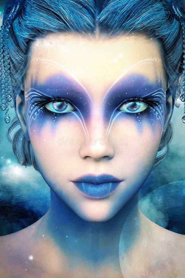 Beautiful Alien Fantasy Ice Princess Illustration stock illustration