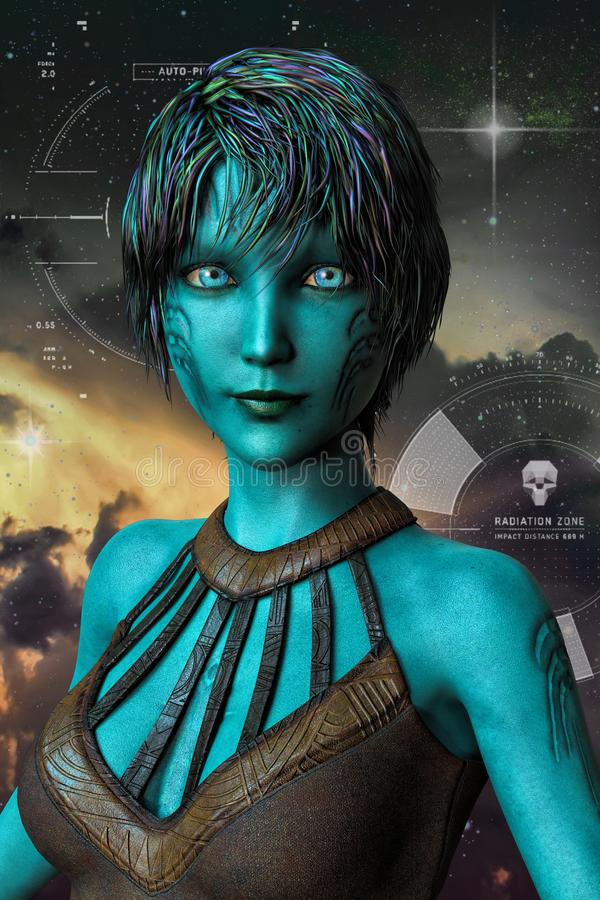 Beautiful Alien Woman set against a Space Background. CG sci-f style fantasy alien female figure ideal for space fantasy, paranormal romance, urban fantasy and stock illustration