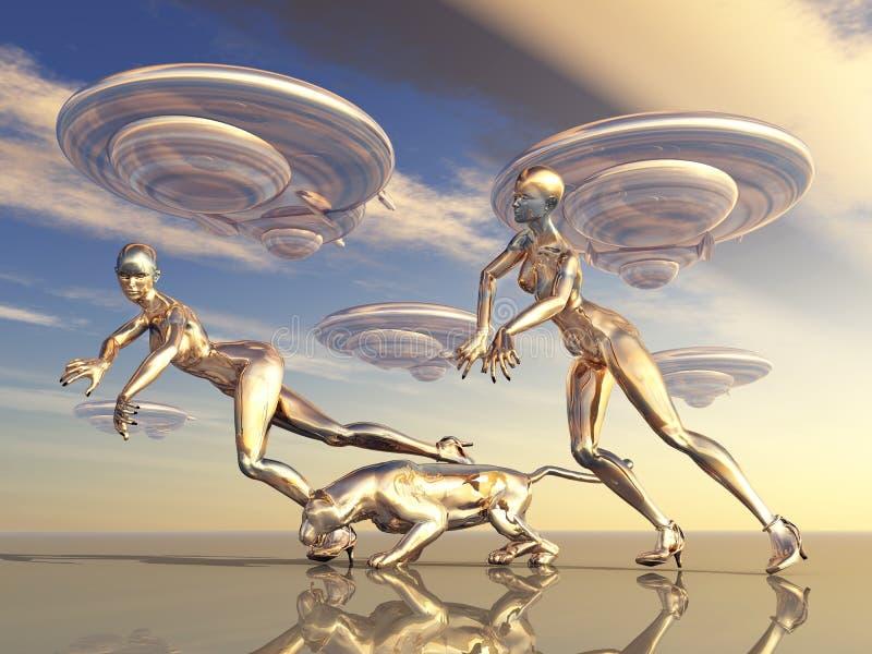 Download Beautiful Aliens stock illustration. Image of sunset - 32175636