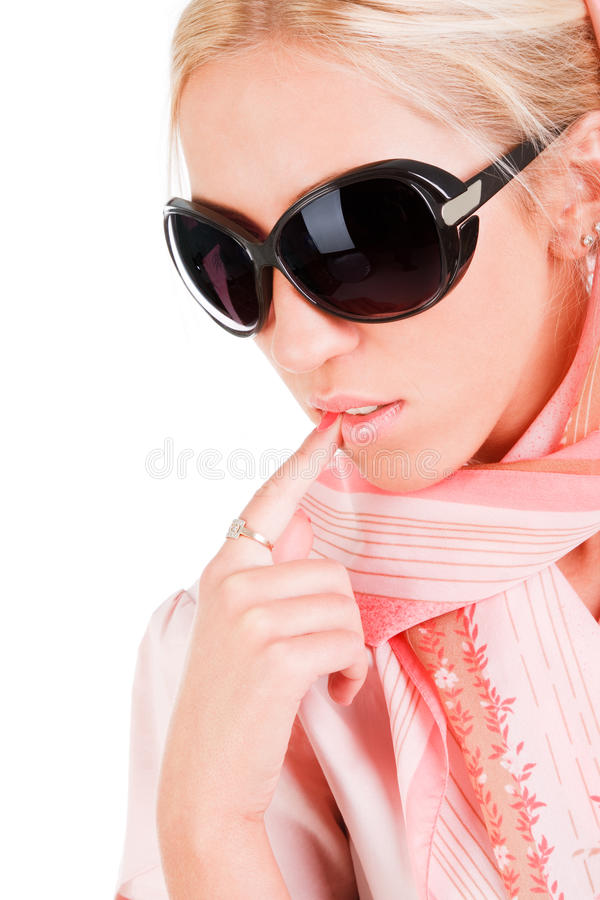 Beautiful alluring girl in sunglasses stock photography