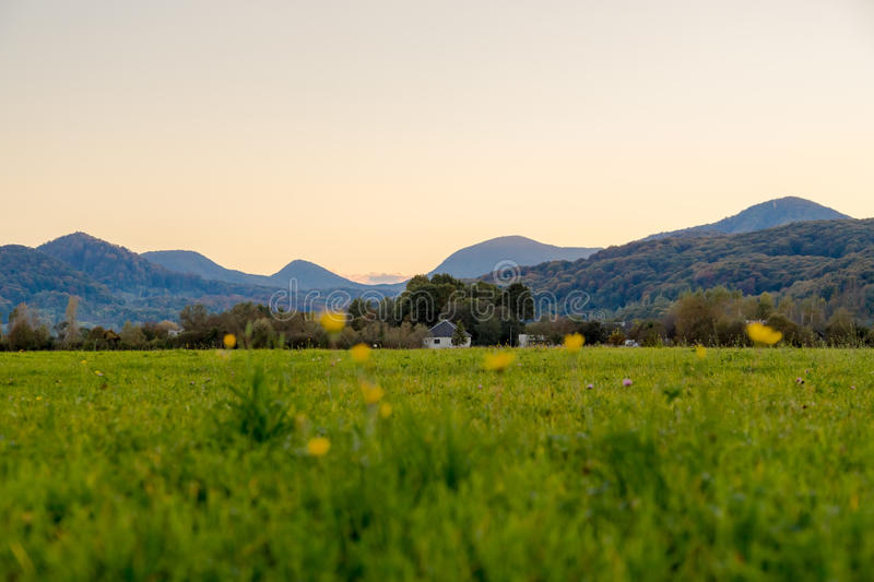 Beautiful alpine meadow in a mountain valley at sunset royalty free stock image