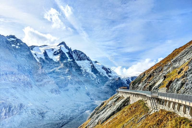 Beautiful alpine mountains, top of the Grossglockner mountain, Austria. Fresh clean air, nature background. On the tops of the royalty free stock image