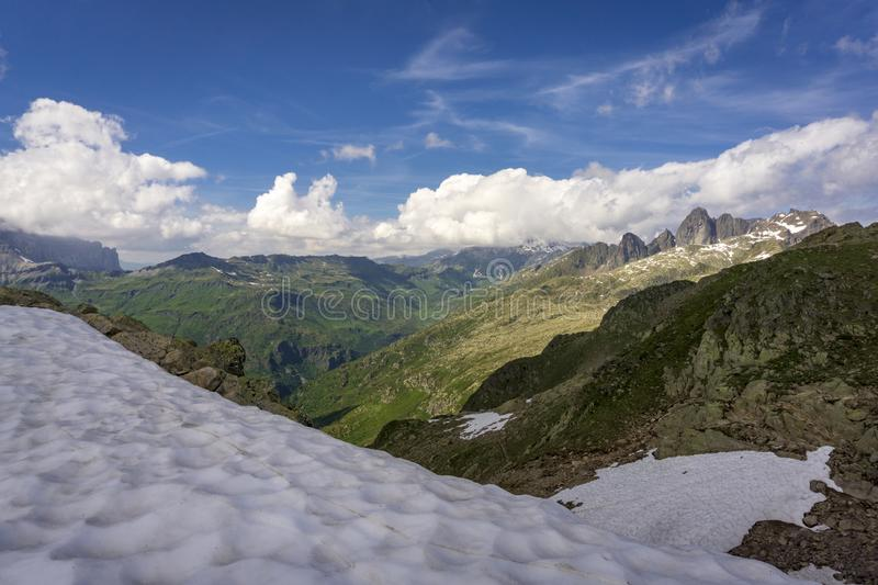 Beautiful Alpine view from the summit of Le Brevent. France royalty free stock images