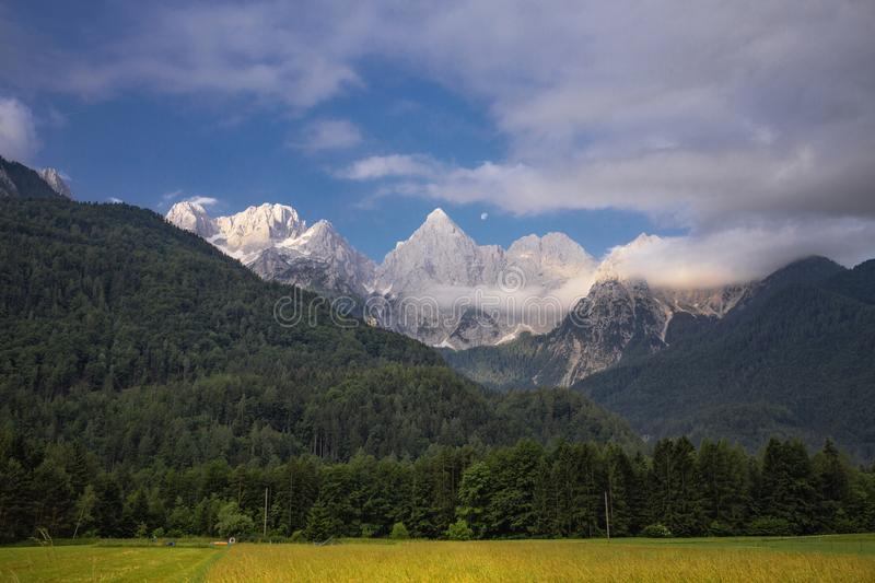 Beautiful Alps landscape with mountains in the background stock image