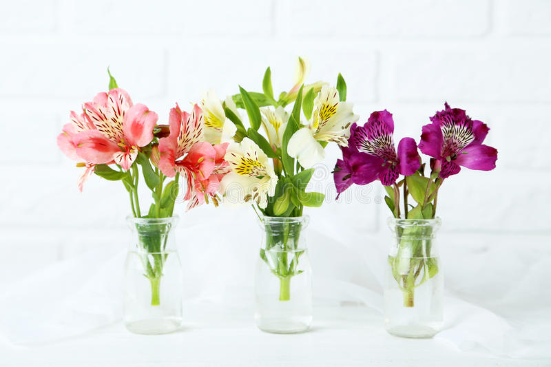 Beautiful alstroemeria flowers. On a white wooden table royalty free stock photos