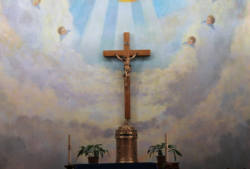 Beautiful alter inside the immaculate Conception Church, Old Town San Diego, California, 2016 stock photography