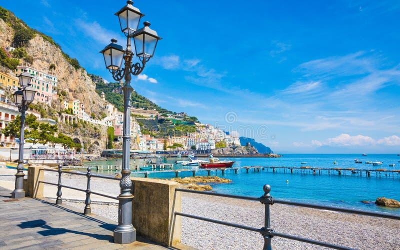 Beautiful Amalfi on hills leading down to coast, azure sea on Amalfi Coast in Campania, Italy. Beautiful Amalfi on hills leading down to coast, Campania, Italy royalty free stock photo