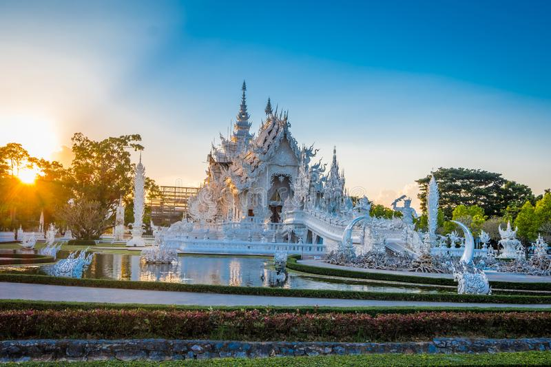 Beautiful and amazing white art temple at Wat Rong Khun Chiang Rai, Thailand It is a tourist destination. stock images