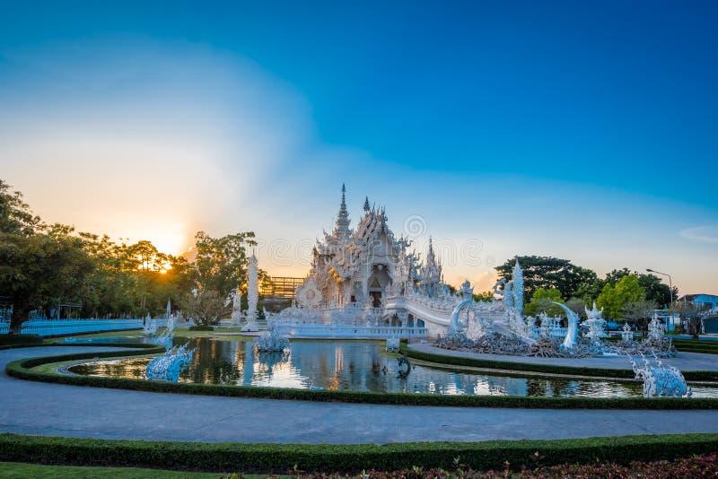 Beautiful and amazing white art temple at Wat Rong Khun Chiang Rai, Thailand It is a tourist destination. Landmark of Chiang Rai stock photo