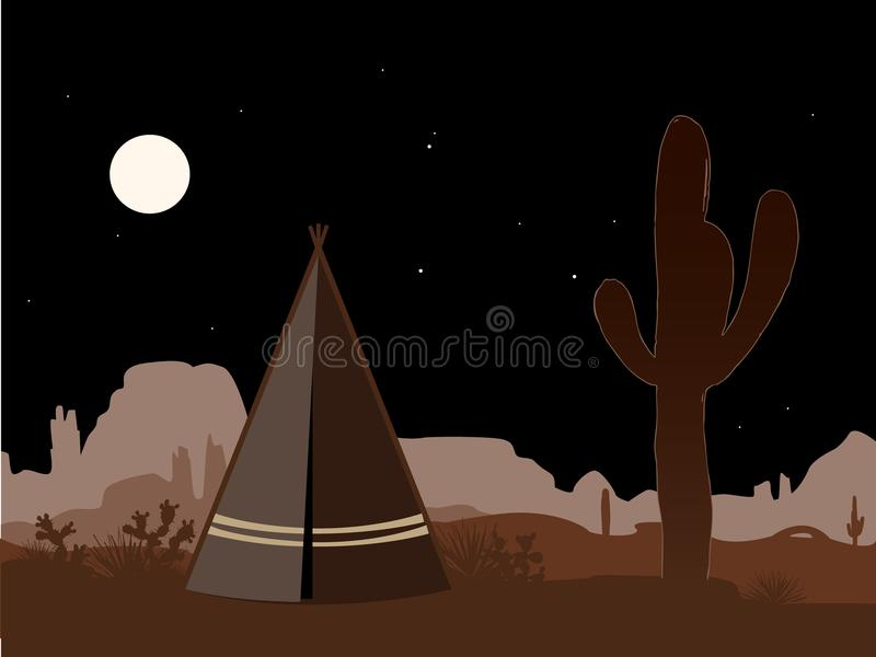 Beautiful amd mystic illustration with indian tepee and saguaro cactus silhouette. At night. Vector background, brown palette royalty free illustration