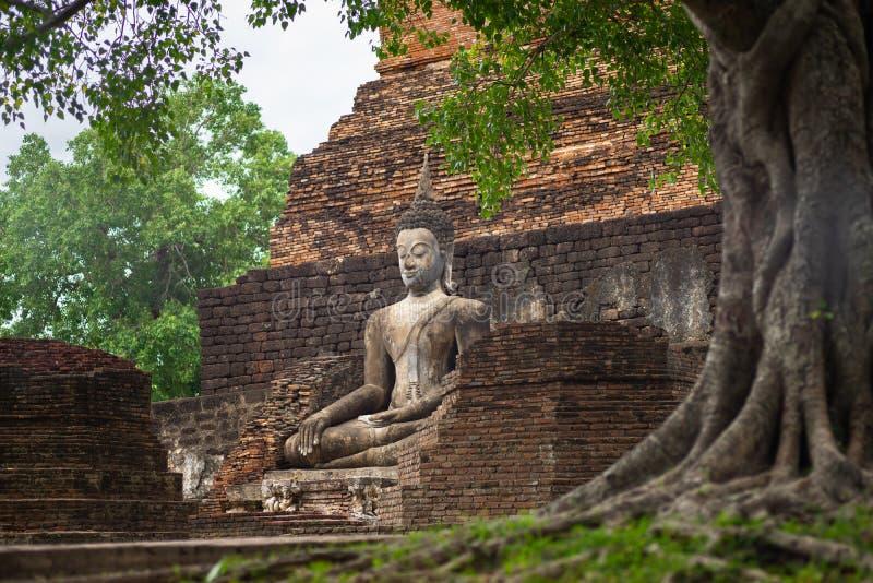 Beautiful ancient buddha at Sukhothai Historical Park ,Sukhothai ,Thailand stock photos