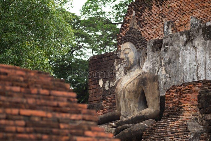 Beautiful ancient buddha at Sukhothai Historical Park ,Sukhothai ,Thailand royalty free stock images