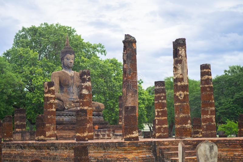 Beautiful ancient buddha at Sukhothai Historical Park ,Sukhothai ,Thailand royalty free stock photo