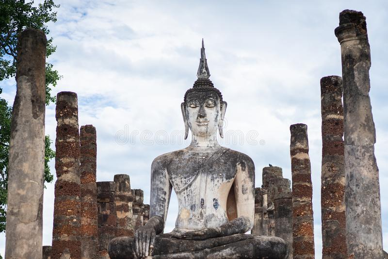 Beautiful ancient buddha at Sukhothai Historical Park ,Sukhothai ,Thailand royalty free stock image
