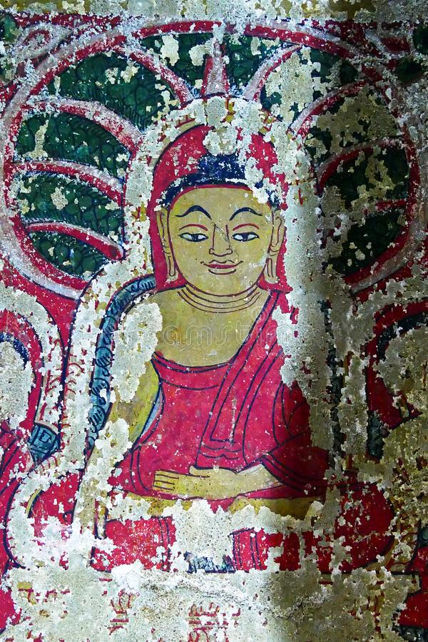 Ancient Buddhist Traditional Burmese Style Ceiling and Wall Mural Paintings at Tilawkaguru Cave Monastery in Sagaing, Myamar royalty free stock photos
