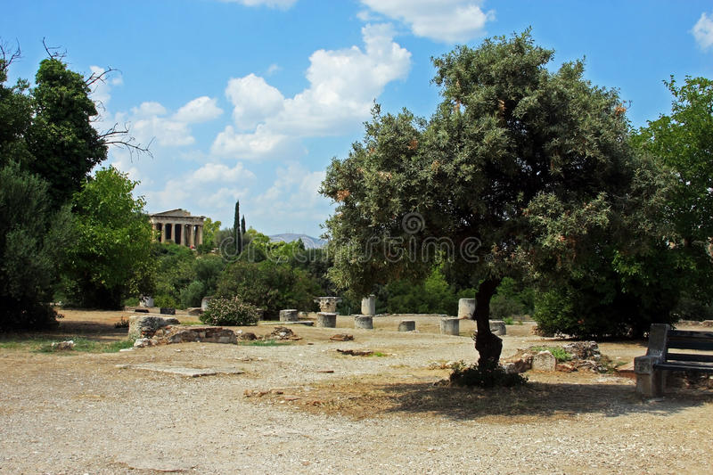 Beautiful ancient gardens at the bottom of Acropolis, in Athens stock photo