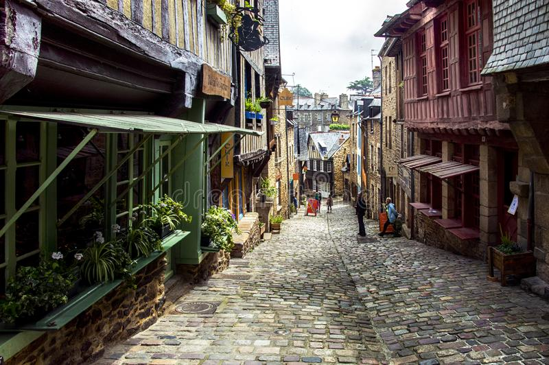 Beautiful ancient houses in Dinan, France. One of the most attractive streets , Jersual stock images
