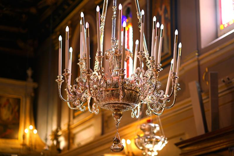 Beautiful and ancient silver candelabrum in the church of Saint Spiridon. In Corfu landscape old landmark kerkyra greek esplanade square island holidays scene royalty free stock photo