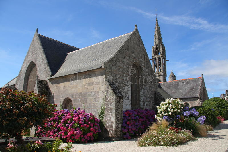 Stone church in french Brittany. Beautiful ancient stone church in french Brittany royalty free stock photography