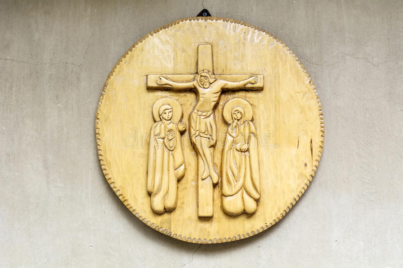 Beautiful ancient wooden icon in a church stock image