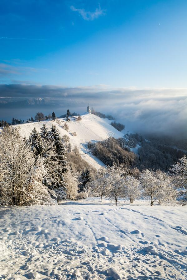 Free Beautiful And Well Known Landmark Jamnik Church On Hilltop In Wintertime Royalty Free Stock Images - 188444749
