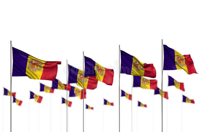 Beautiful Andorra isolated flags placed in row with soft focus and place for your content - any occasion flag 3d illustration. Pretty anthem day flag 3d stock illustration