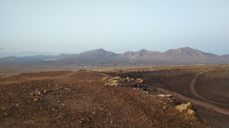 The beautiful andscape of Lanzarote. A view from Montana Roja royalty free stock photography
