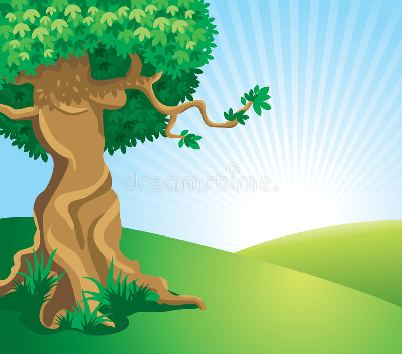 Download Beautiful Andscape With A Large Old Tree Stock Vector - Image: 12913737