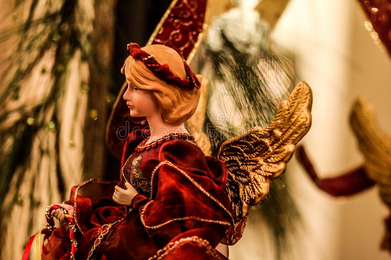 Beautiful Angel Christmas Decoration. A beautiful angel Christmas decoration is the centerpiece of a Christmas time wedding royalty free stock photography