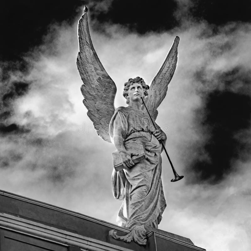 Beautiful angel with huge wings - black and white photo royalty free stock photography