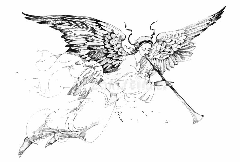 Beautiful angel with wings. In white background vector illustration