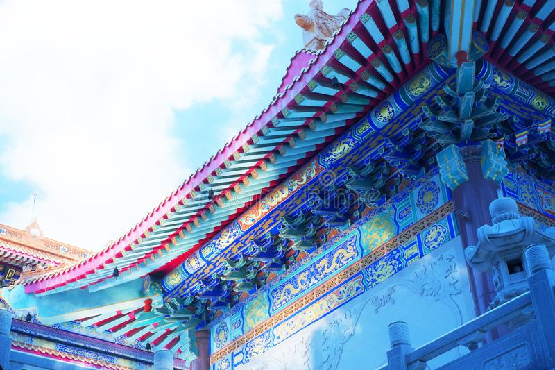 Beautiful angle of a Chinese temple under blue and cloudy sky. Yesterday,I travel to visit the most beautiful Chinese temple in a province nearby the capital royalty free stock images