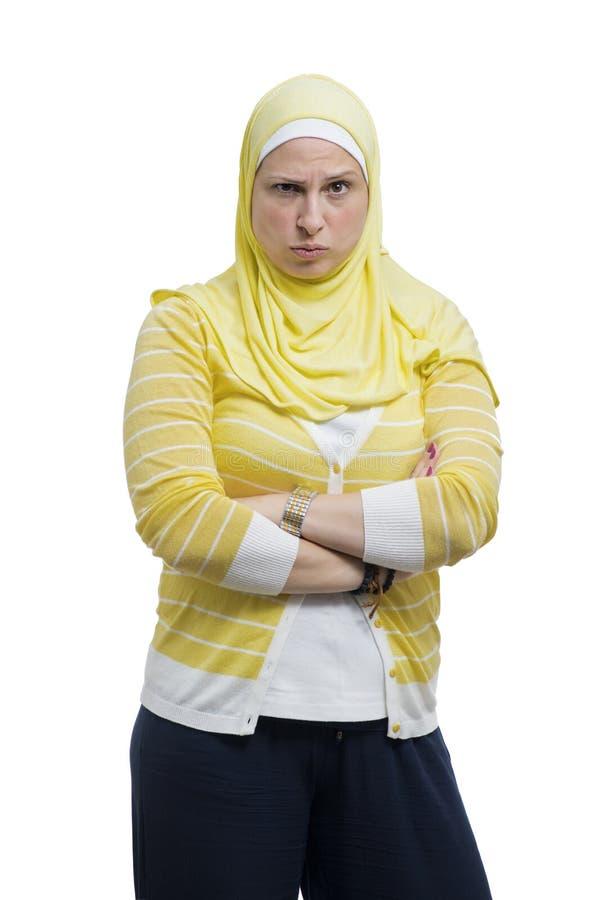 Beautiful Annoyed Modern Muslim Woman stock photo