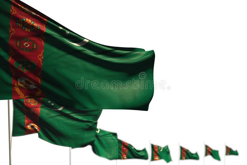 Beautiful anthem day flag 3d illustration - Turkmenistan isolated flags placed diagonal, picture with selective focus and place. Nice Turkmenistan isolated flags stock illustration