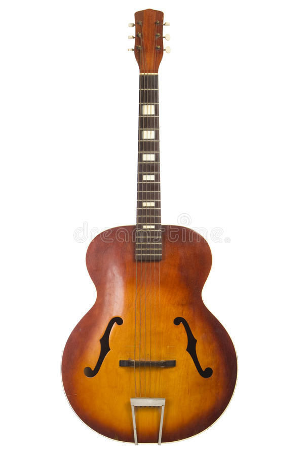 Beautiful antique acoustic guitar isolated royalty free stock image