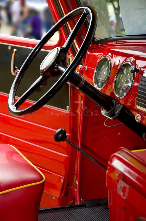Beautiful Antique American Red Truck Metallic Interior. Vertical stock image