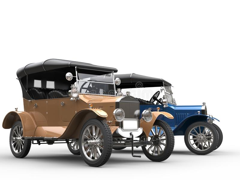Beautiful antique cars - gold and blue stock illustration