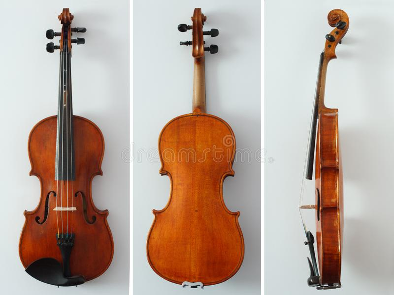 Beautiful antique violin from all sides royalty free stock image