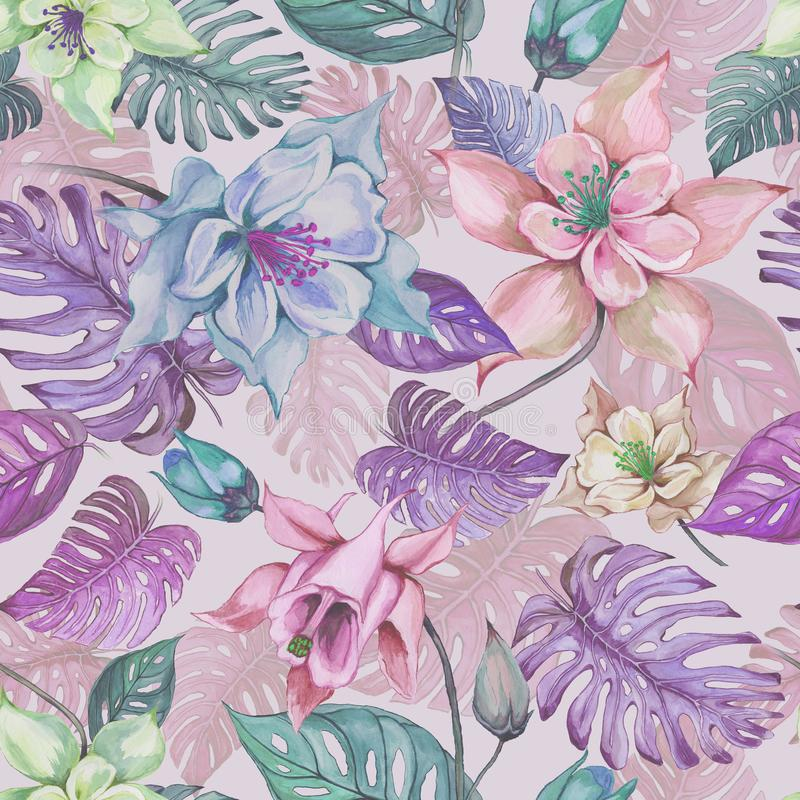 Beautiful aquilegia or columbine flowers and exotic monstera leaves on pink background. Watercolor painting vector illustration