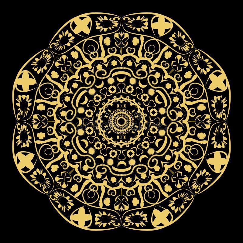 arabesque golden circle on black stock illustration