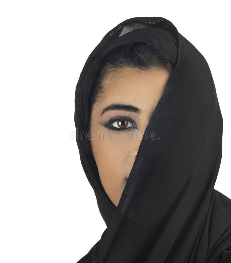 Beautiful arabian lady wearing traditional islamic stock photo