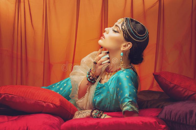 Beautiful arabic style bride in ethnic clothes stock photography