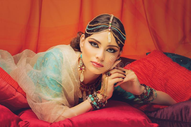 Beautiful arabic style bride in ethnic clothes royalty free stock photo