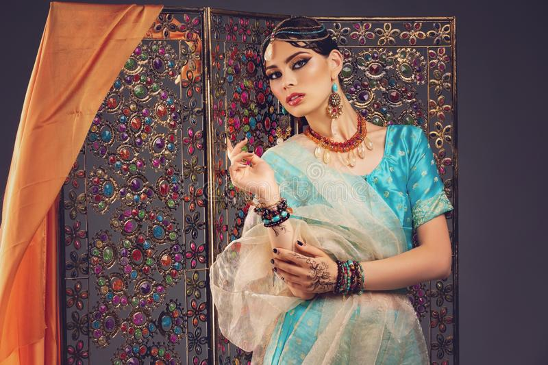 Beautiful arabic style bride in ethnic clothes royalty free stock images